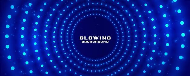 Świecące promieniowe jasne kropki projekt banera