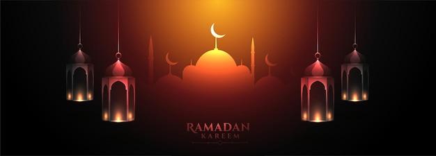 Świecące ramadan kareem arabski projekt banera z pozdrowieniami