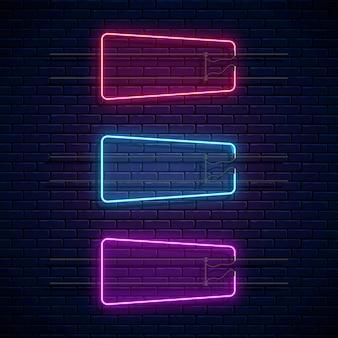 Świecące ramki neonowe. zestaw neonowych banerów. realistyczny szyld blask. świecące granice na puste miejsce.