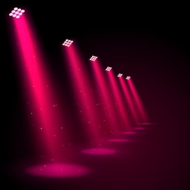 Świecące różowe reflektory
