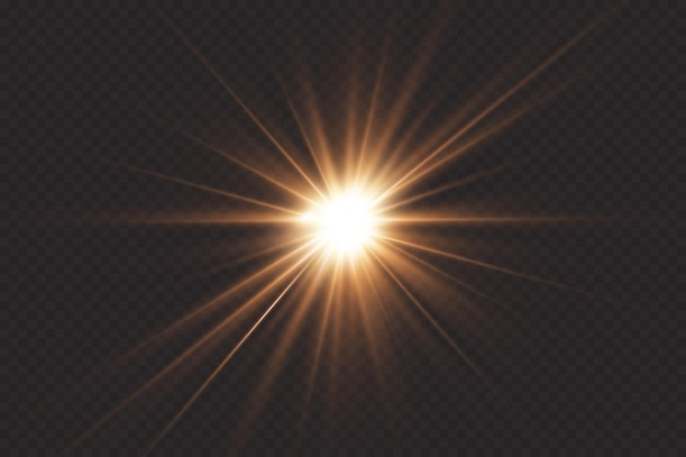 Świecące słońce, jasny błysk. środek jasnego błysku.