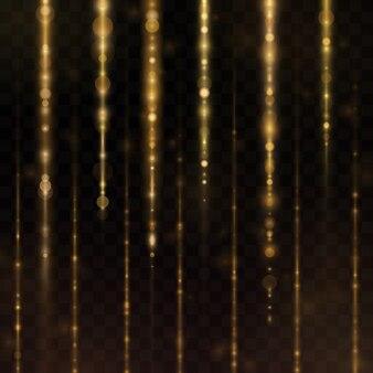 Świecące spadające cząsteczki światła.