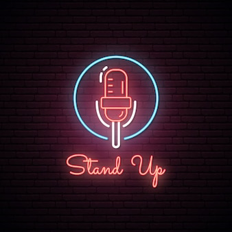 Świecące stand up up. efekt neonu.