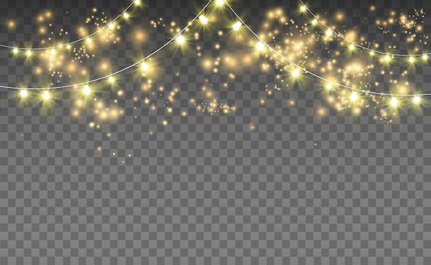 Świecące światła do dekoracji na przezroczystym tle