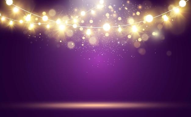 Świecące światła, Girlandy, Dekoracje świetlne. Premium Wektorów
