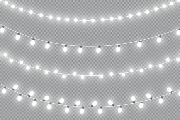Świecące światła. girlandy ozdobne efekty świetlne.