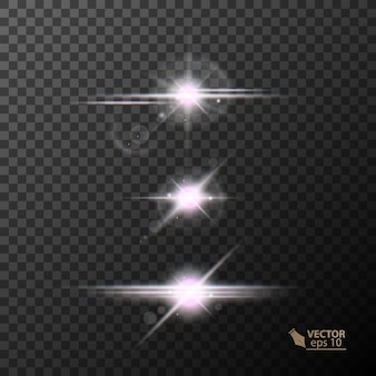 Świecące światła i gwiazdy na białym tle na czarnym przezroczystym tle