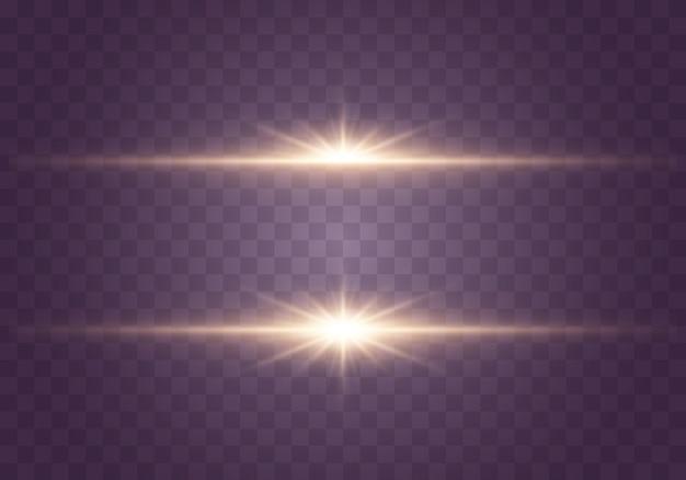 Świecące światła i gwiazdy na przezroczystym tle. zestaw światła wybucha. jasna gwiazda błyszczy.