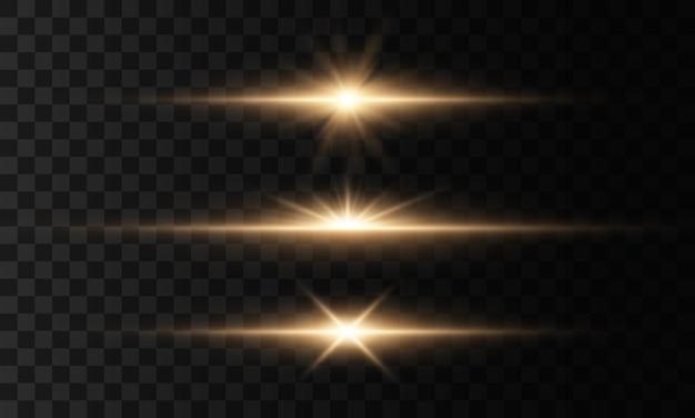 Świecące światła i gwiazdy. na przezroczystym tle. zestaw światła wybucha. lśniące magiczne cząsteczki kurzu. jasna gwiazda, błyszczy przezroczyste świecące słońce, efekt światła błyskowego