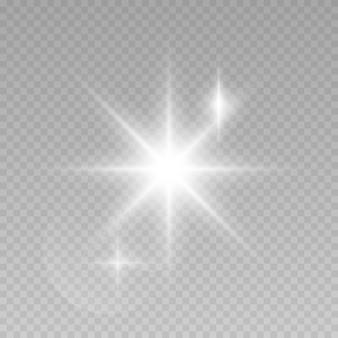 Świecące światła na przezroczystym tle.