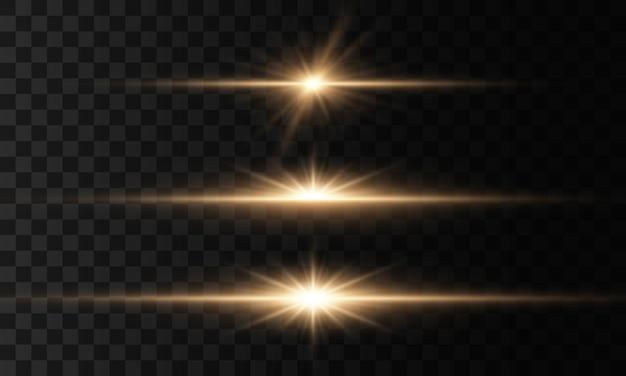 Świecące światła. zestaw światła wybucha. efekt świetlny. flara obiektywu.
