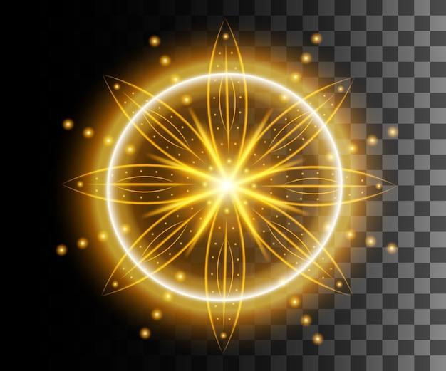 Świecące światło. abstrakcyjny efekt żółty.