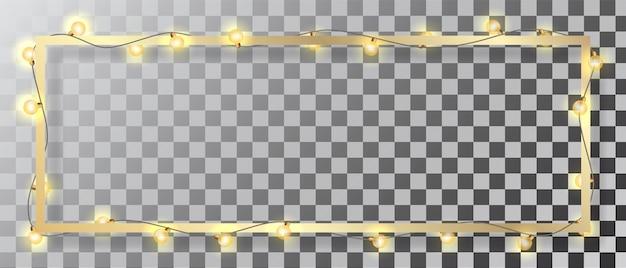 Świecące światło christmas garland i złotą ramkę na przezroczystym tle. szczegółowy element wektora do dekoracji kart lub banerów.