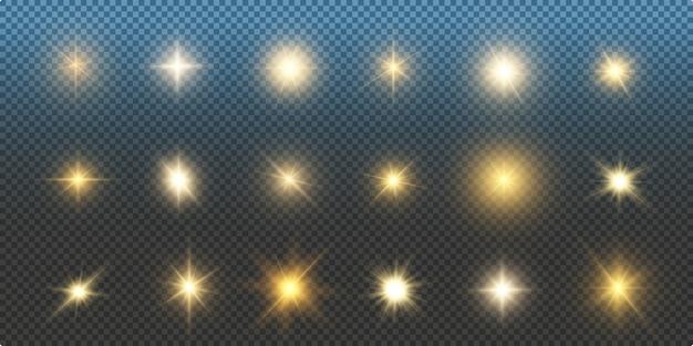 Świecące światło gwiazd lub światło słoneczne, efekt świetlny