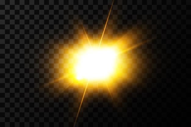 Świecące światło wybucha na przezroczystym tle. z promieniem. przezroczyste świecące słońce, jasny błysk. środek jasnego błysku.