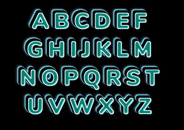 Świecące światło z zestawem alfabetów wzór
