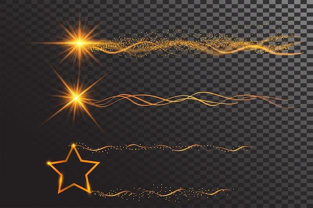 Świecące świecące gwiazdy i wstążki fal w złotym kolorze