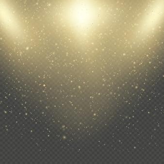 Świecące święta bożego narodzenia lub nowy rok mienią się deszczem. streszczenie efekt mgławicy złoty brokat połysk przestrzeni.