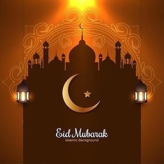 Świecące tło festiwalu eid mubarak w kolorze brązowym
