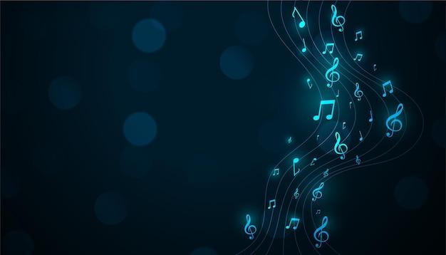 Świecące tło muzyczne pentagram z nutami dźwiękowymi
