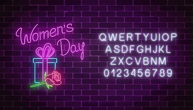 Świecące transparent neon 8 marca wakacje z alfabetu.