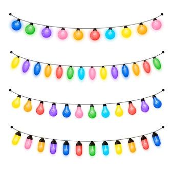 Świecące żarówki o różnych kształtach, kolorowe lampki choinkowe