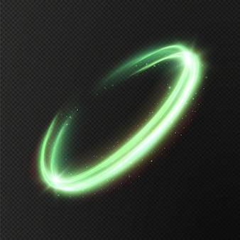 Świecące zielone linie prędkości efekt świecenia światła abstrakcyjne zielone linie ruchu sprzęt oświetleniowy