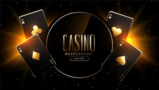 Świecące złote czarne karty do gry w kasynie projekt banera