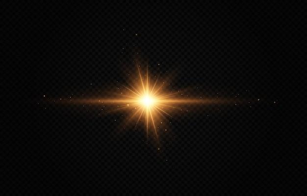 Świecące złote gwiazdy efekt świetlny jasna gwiazda świąteczna gwiazda