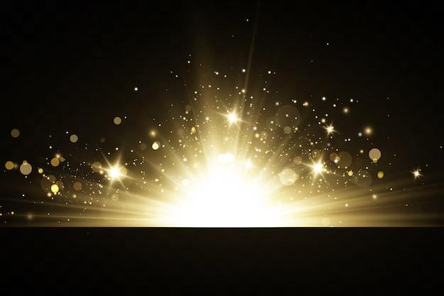 Świecące złote gwiazdy na białym na czarnym tle. efekty, blask, linie, blask, eksplozja, złote światło. ilustracji wektorowych