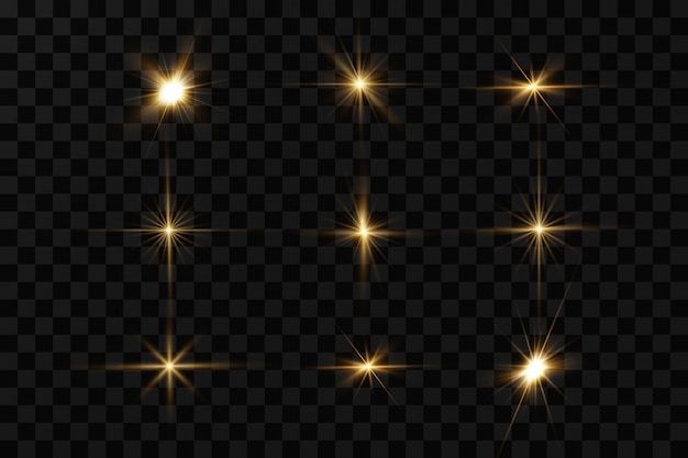 Świecące złote gwiazdy na białym na czarnym tle. efekty, blask, linie, blask, eksplozja, złote światło.