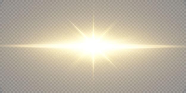 Świecące złote gwiazdy na białym na czarnym tle. efekty, flara obiektywu, połysk, eksplozja, złote światło, zestaw. lśniące gwiazdy, piękne złote promienie.