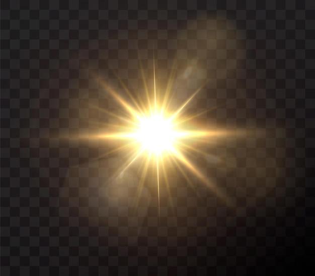 Świecące złote gwiazdy na białym na czarnym tle.