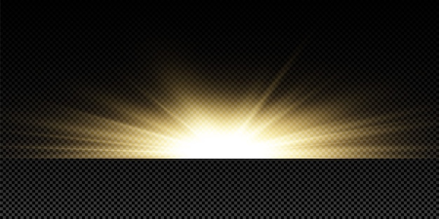 Świecące złote gwiazdy na czarnym tle. efekty, blask, linie, blask, eksplozja, złote światło. ilustracja