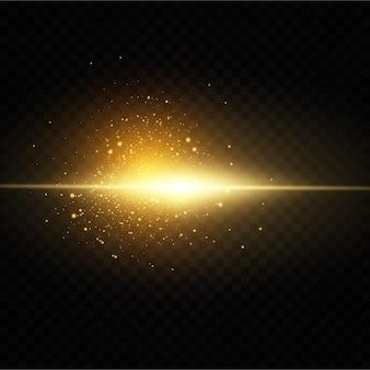 Świecące złote gwiazdy na czarnym tle.