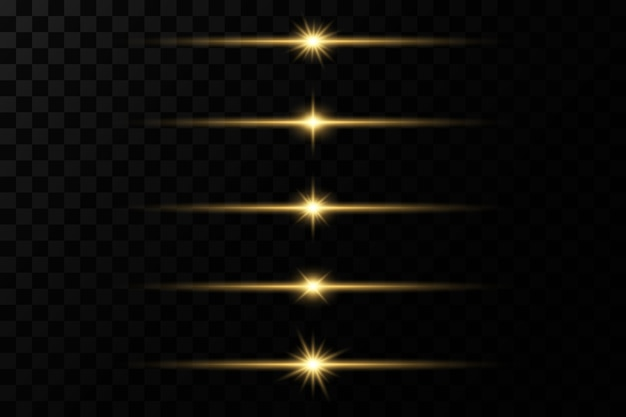 Świecące złote gwiazdy na przezroczystym tle. efekty, blask, linie, blask, eksplozja, światło.