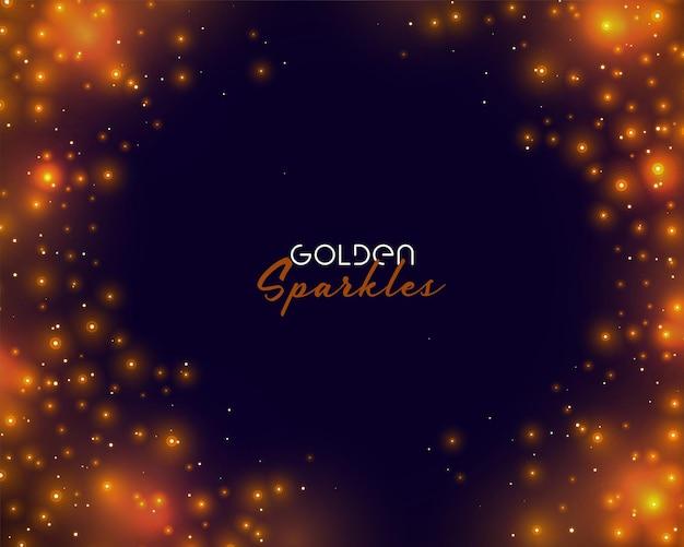 Świecące złote iskierki z miejscem na tekst