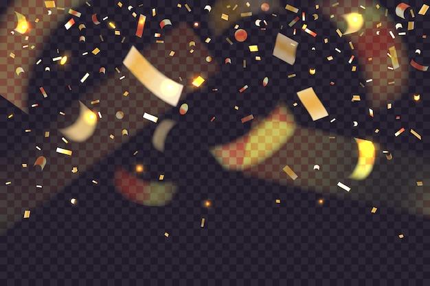 Świecące złote konfetti. 3d spadający brokat i złoty blichtr