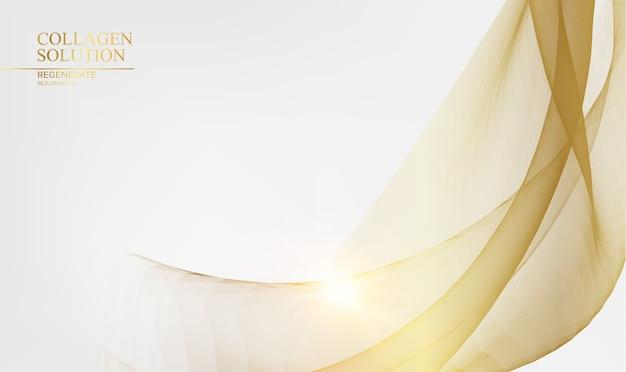 Świecące złote linie na białym tle.
