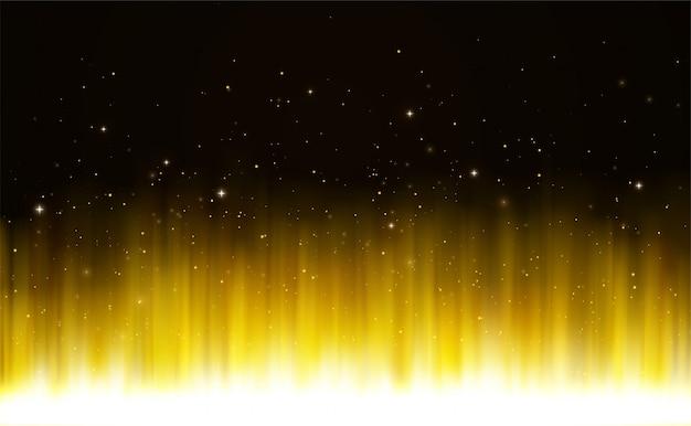Świecące złote lśniące jasne światło z cząstkami magicznego pyłu i gwiazdami.