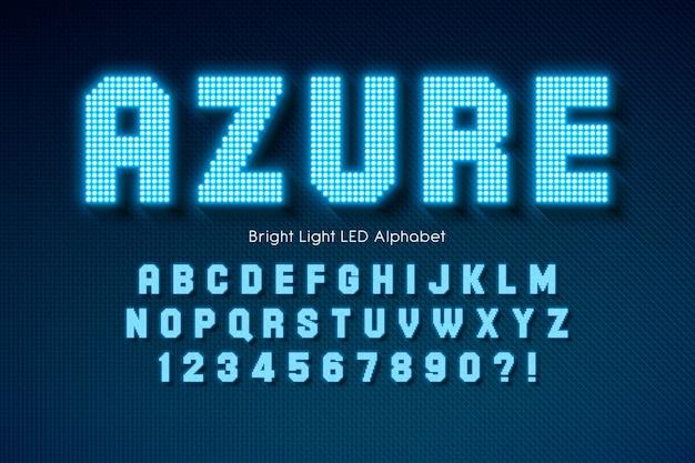 Świecący Alfabet światła Led, Dodatkowo świecąca Czcionka. Premium Wektorów