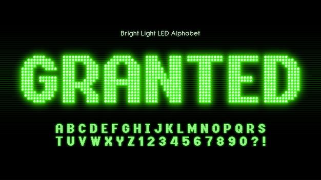 Świecący alfabet światła led, dodatkowo świecąca czcionka.