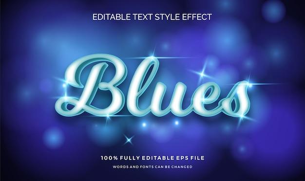 Świecący blues edytowalny efekt stylu tekstu