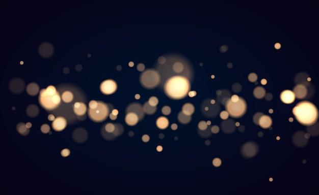 Świecący bokeh na przezroczystym tle złote światła bokeh ze świecącymi cząsteczkami...