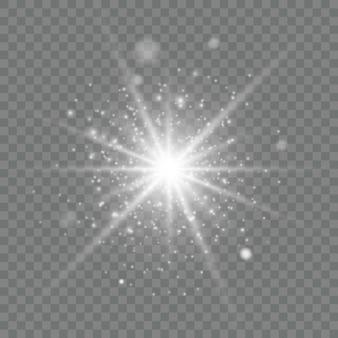 Świecący efekt świetlny na przezroczystym.
