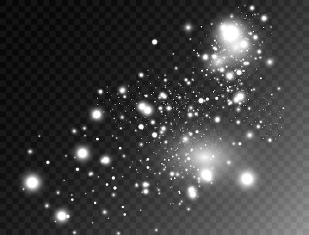 Świecący efekt świetlny z izolowanymi wieloma cząsteczkami brokatu