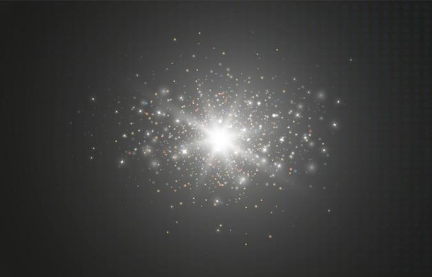 Świecący efekt świetlny z wieloma cząsteczkami brokatu na przezroczystym tle wektor gwiazda clo