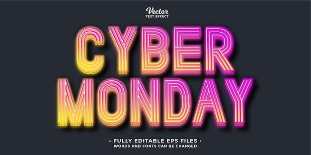 Świecący efekt tekstowy w cyber poniedziałek w pełni edytowalne słowa i czcionki eps cc można zmienić