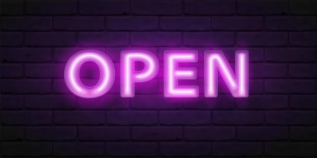 Świecący fioletowy neon open. czcionka do typografii. jasna czcionka z jarzeniówkami w boksie. ilustracja napisu na drzwiach sklepu, kawiarni, baru lub restauracji
