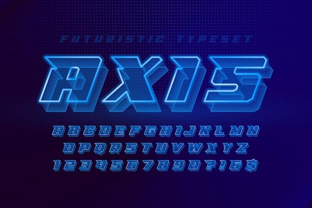 Świecący futurystyczny alfabet sci-fi, zestaw kreatywnych znaków.